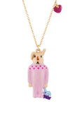 Les Nereides Loves Animals Rabbit Sister In Her Pyjama and Charms Necklace