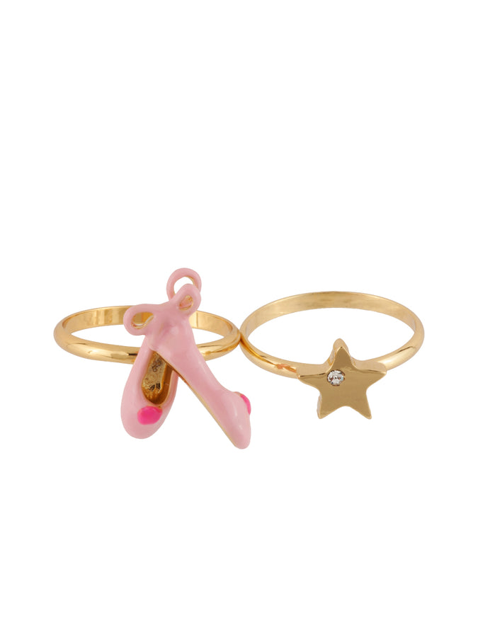 Little Dancers Ballet Shoes and Star Double Ring - Pink