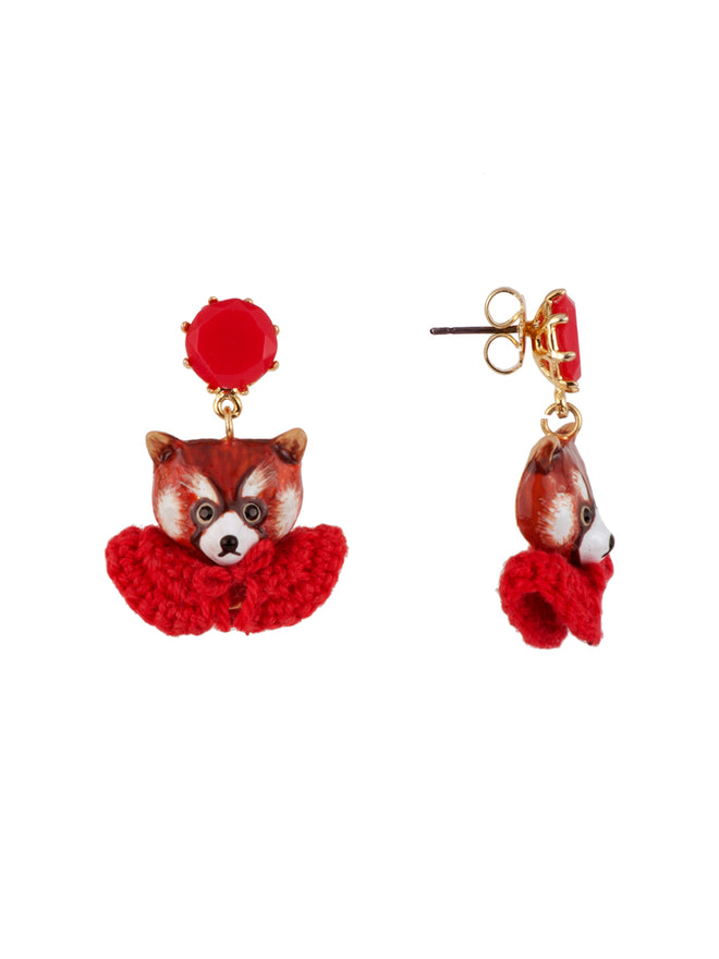 Kind and Happy Leonie The Red Panda Wearing Her Red Cape Clip Earrings Alternate View