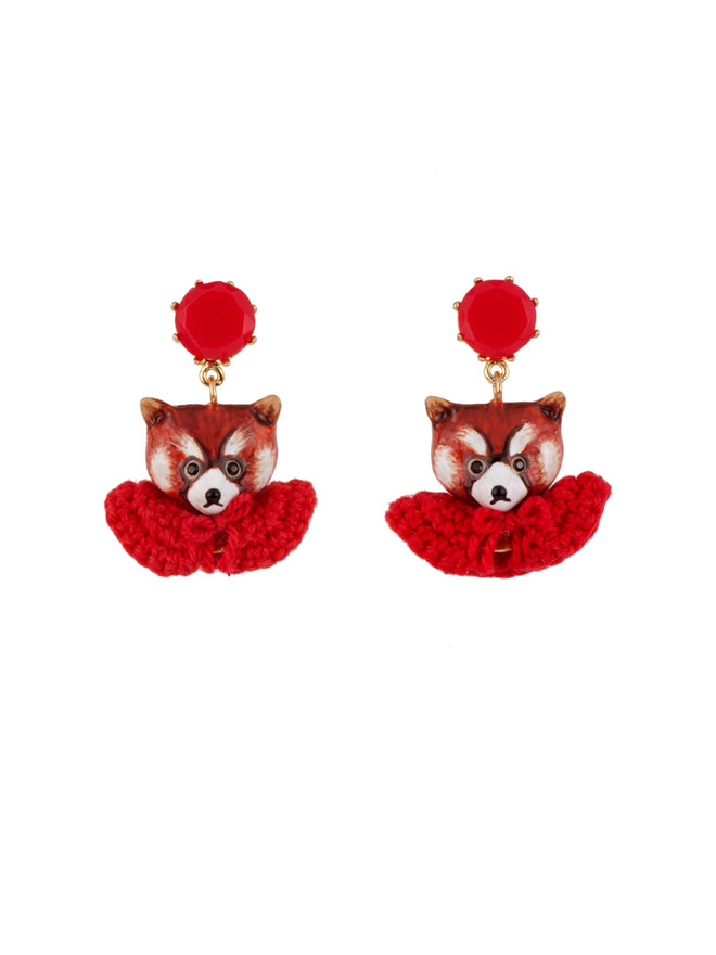 Kind and Happy Leonie The Red Panda Wearing Her Red Cape Clip Earrings