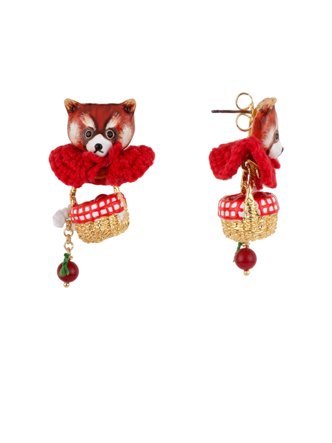 Kind and Happy Leonie The Red Panda Wearing Her Red Cape and Her Hamper Earrings Alternate View