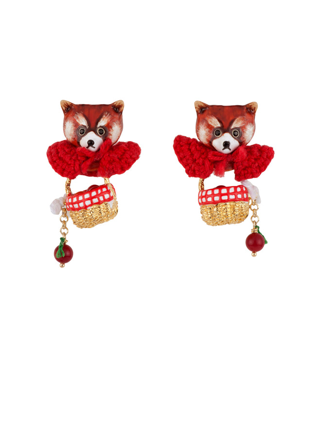 Kind and Happy Leonie The Red Panda Wearing Her Red Cape and Her Hamper Earrings