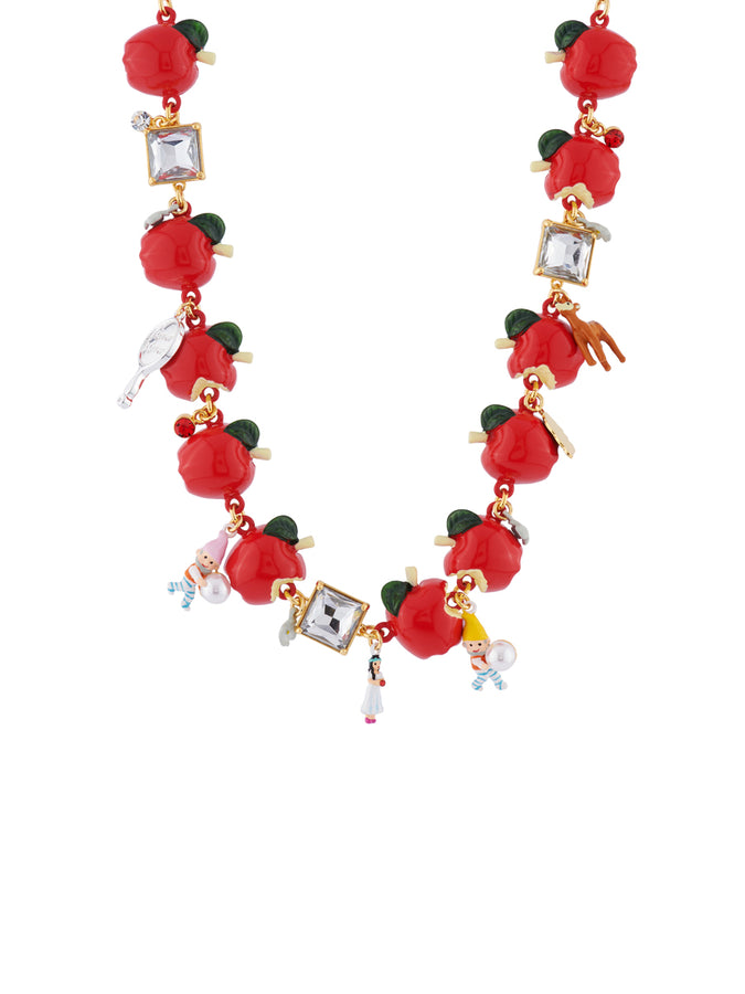 Snow White Multi Apples and Charms Convertible Necklace