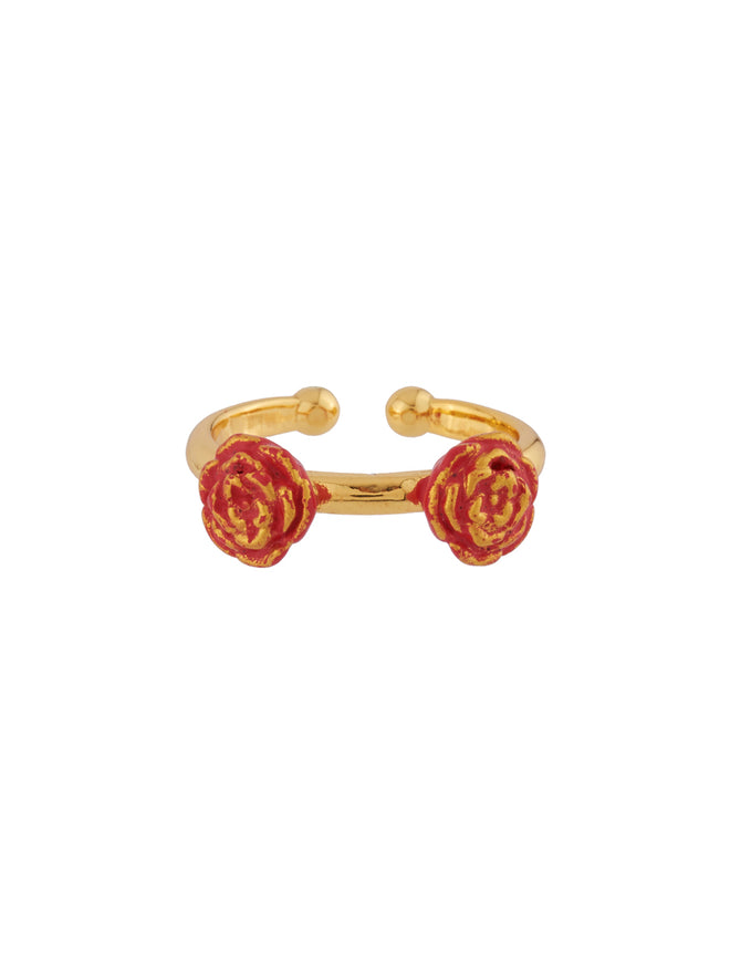 Beauty Like Beast The Beauty and Red Roses Set of 2 Adjustable Rings