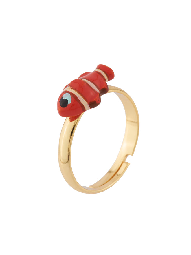 Under The Ocean Starfish, Clownfish and Branch of Coral Set of 3 Adujstable Rings Alternate View