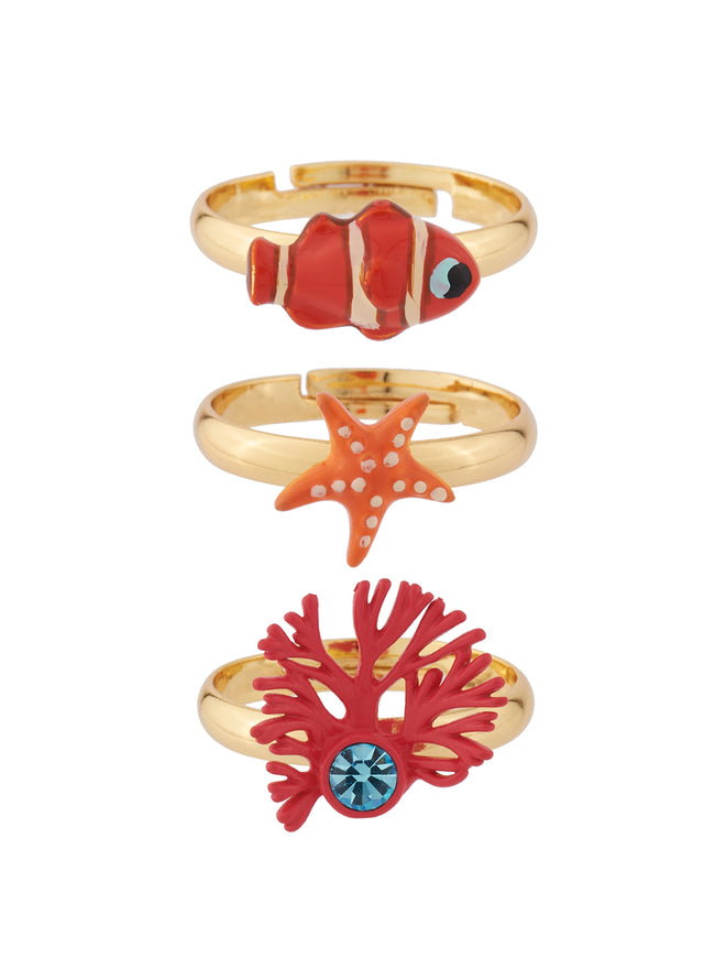 Under The Ocean Starfish, Clownfish and Branch of Coral Set of 3 Adujstable Rings