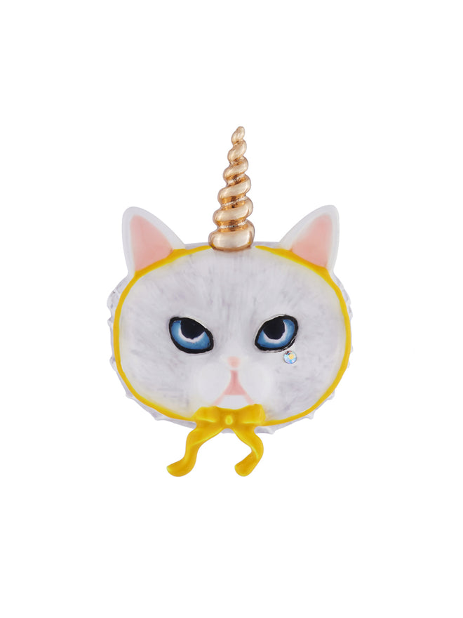 Kind and Happy Edgar The Persian Cat In A Unicorn Costume Brooch