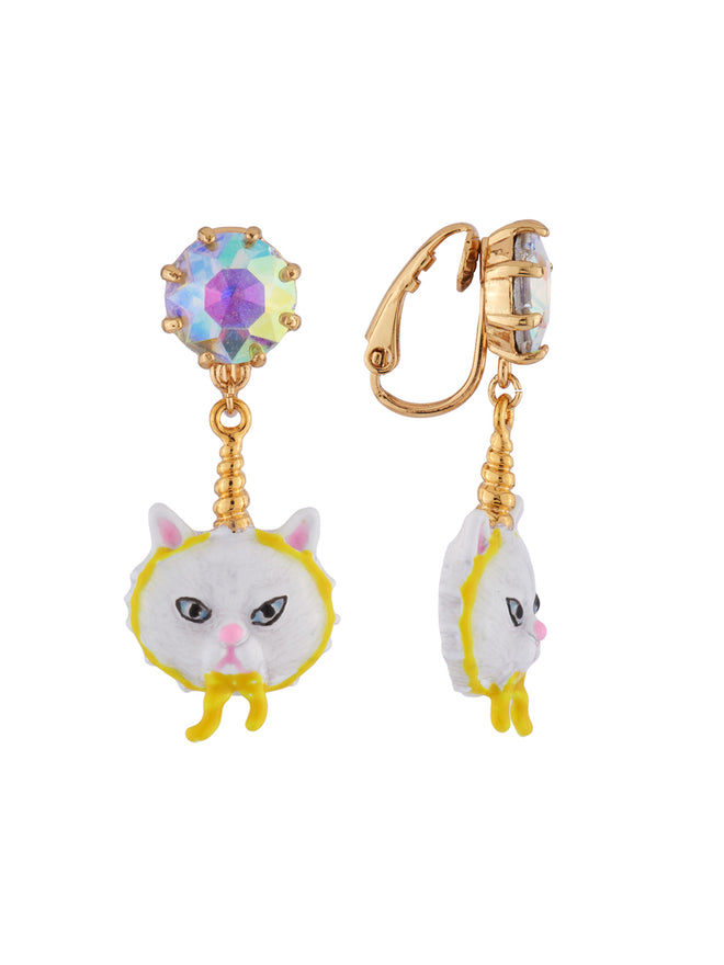 Kind and Happy Edgar The Persian Cat In A Unicorn Costume and Strass Clip Earrings Alternate View