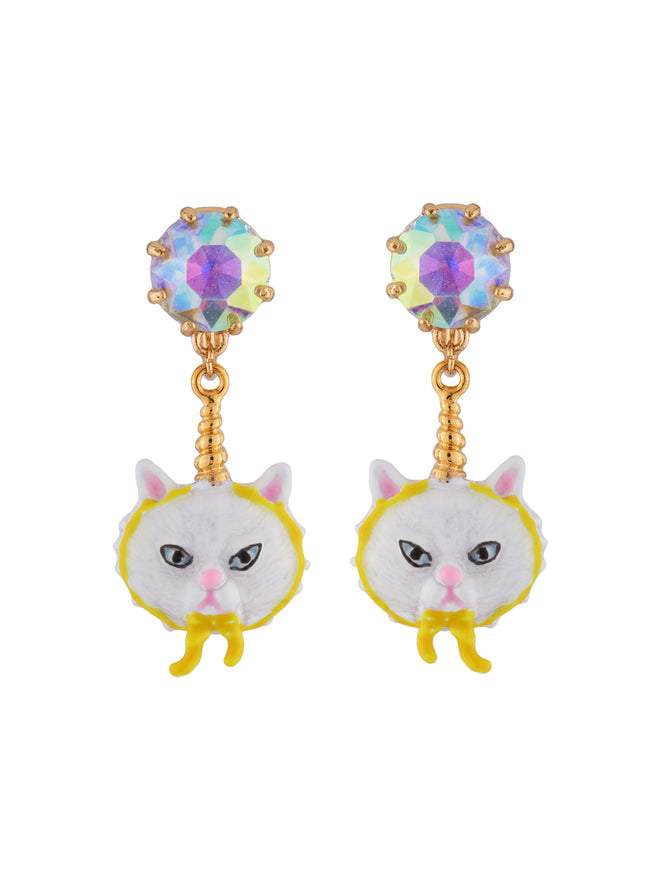 Kind and Happy Edgar The Persian Cat In A Unicorn Costume and Strass Clip Earrings