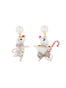 Animals Circus Dancer mouses asymmetrical dangling stud earrings