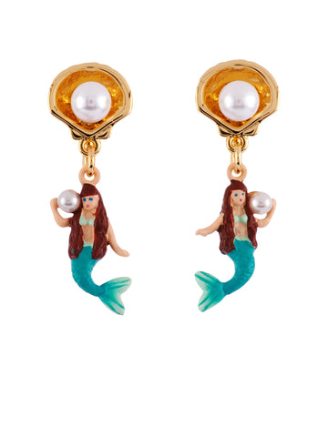 I Am A Mermaid with Shell and Pearl Earrings