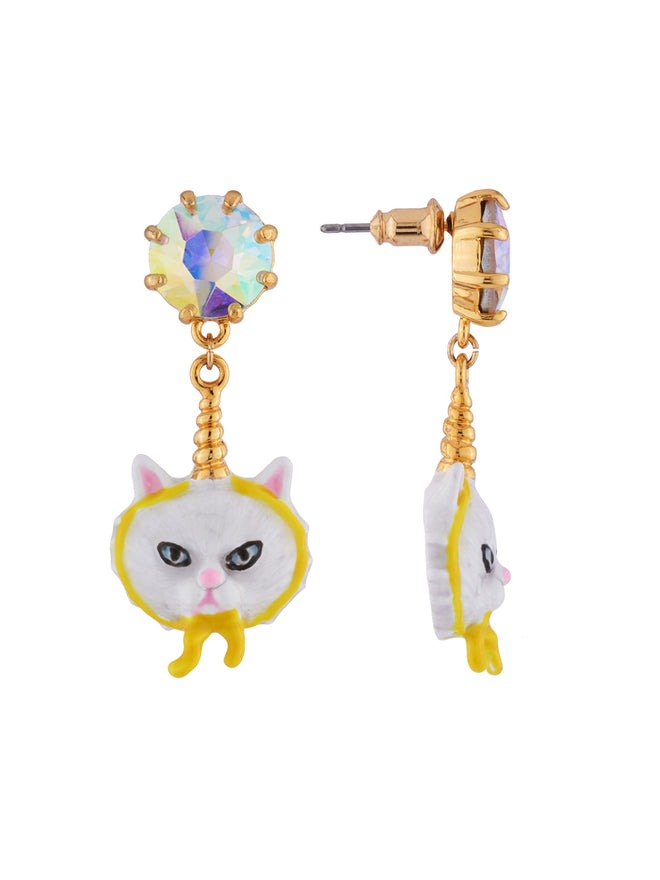 Kind and Happy Edgar The Persian Cat In A Unicorn Costume and Strass Earrings Alternate View