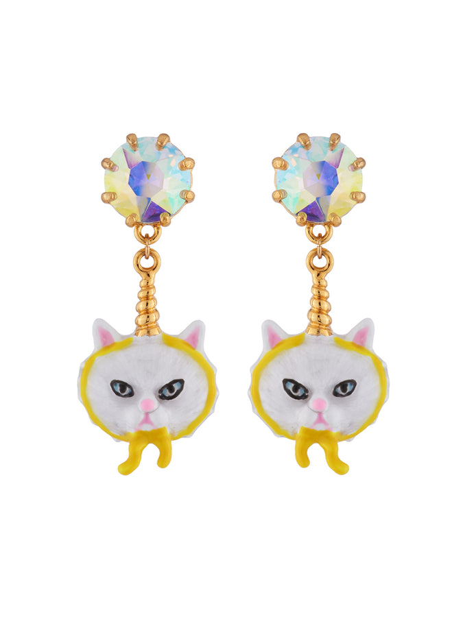 Kind and Happy Edgar The Persian Cat In A Unicorn Costume and Strass Earrings
