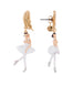 White Ball White Swan Ballerina Earrings Alternate View