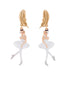 White Ball White Swan Ballerina Earrings