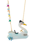 Joyland Bumper Swan and Flags Long Necklace
