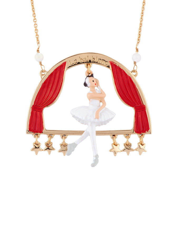 White Ball White Swan Ballerina on Stage Long Necklace
