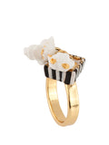 So Sweet Striped Popcorn Buket Ring - White