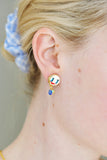 Asymmetrical Sun and Moon Clip On Earrings