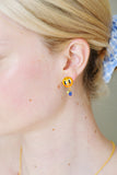 Asymmetrical Sun and Moon Stud Earrings