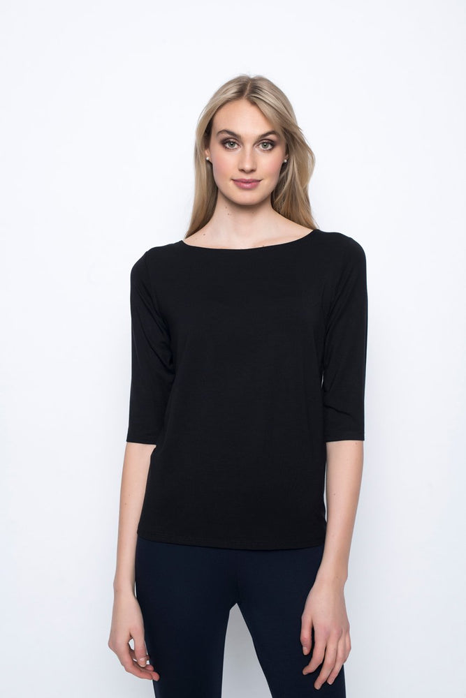 ¾ Sleeve Boat Neck Top | Picadilly - Patchington