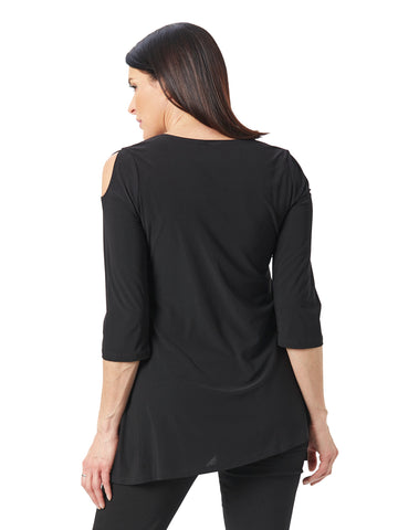Womens Black/White Destination Collection - Peakaboo Sleeve Tunic 2 Alternate View