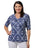 Womens Navy Print 1/2 Sleeve V-Neck Crinkle Tee