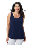 Womens Navy  Destination Collection - Scoop Mid Length Tank