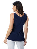 Womens Navy  Destination Collection - Scoop Mid Length Tank  2