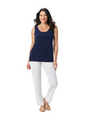 Womens Navy  Destination Collection - Scoop Mid Length Tank  4