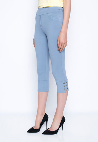 Dusty Blue Capri With Button Detail