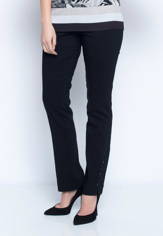 Womens Black Button Trimmed Pants