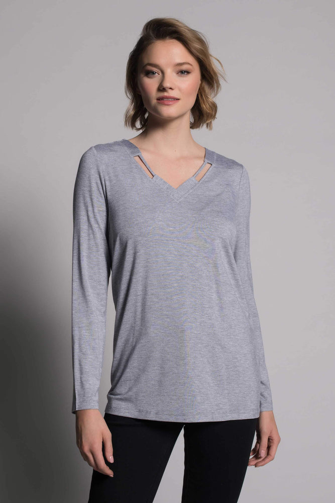Long Sleeve V-Neck Detail Top | Picadilly - Patchington