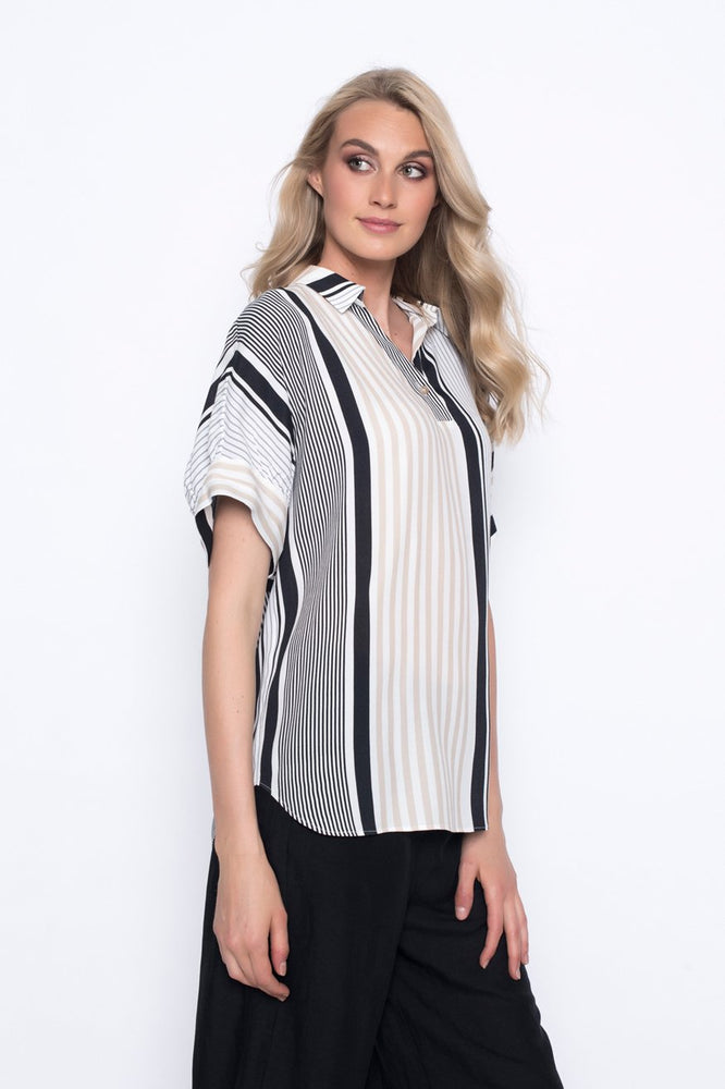 Stripe Collar Top | Picadilly - Patchington