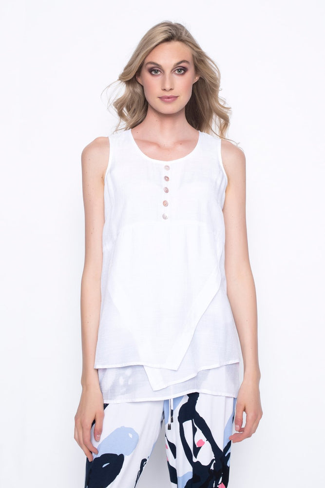 Tank With Button Detail | Picadilly - Patchington