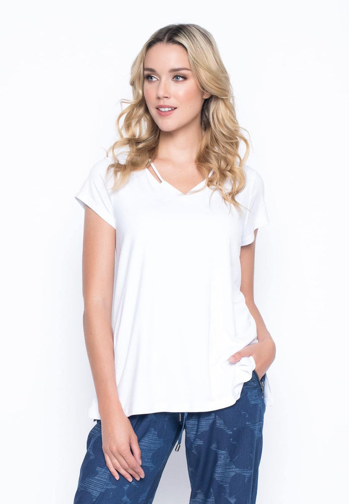 Short Sleeve Top With Neck Line Strap | Picadilly - Patchington