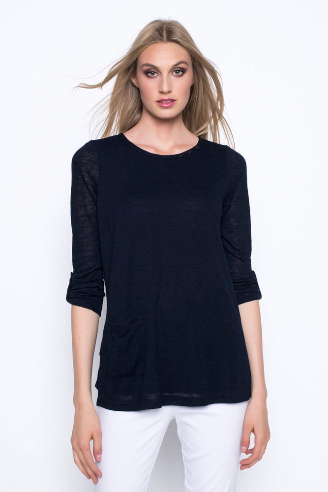 ¾ Sleeve Top With Side Pocket | Picadilly - Patchington