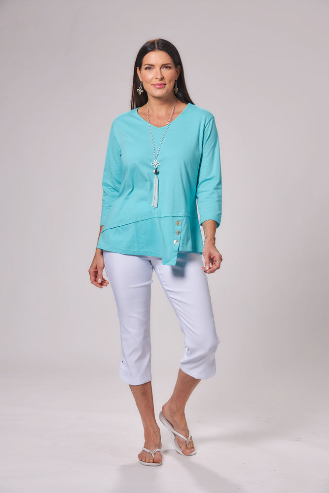 Asymmetrical Hem Button Detail Top - Patchington