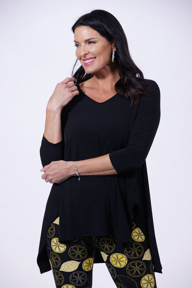 Destination Collection - 3/4 Sleeve V-Neck Side Vent Tunic | Patchington - Patchington