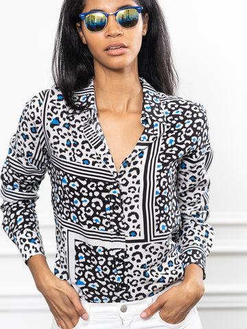 Womens Black/Blue Leopard The Signature Shirt in Black/Blue Leopard