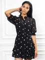 Womens Black Daisy The Ruffle Tiered Mini Dress