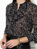 Womens Black Floral The Ruffled Neck Shirt 2