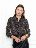 Womens Black Floral The Ruffled Neck Shirt