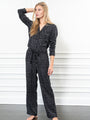 Womens Black Leopard The Long Sleeve Pajama Set