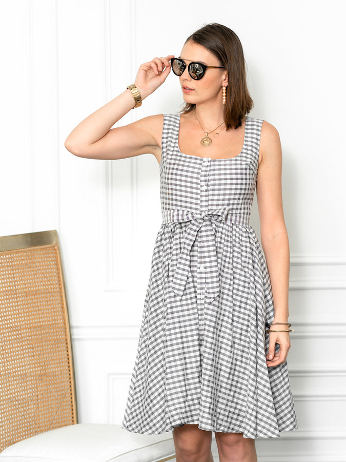 Womens Black/White Check The Sweetheart Dress
