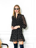 Womens Black/White Dots The Mini Dress with Ruffled Hem 2