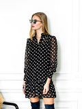 Womens Black/White Dots The Mini Dress with Ruffled Hem 4