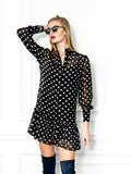 Womens Black/White Dots The Mini Dress with Ruffled Hem 6