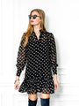 Womens Black/White Dots The Mini Dress with Ruffled Hem
