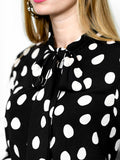 Womens Black/White Dots The Bow Tie Shirt  2